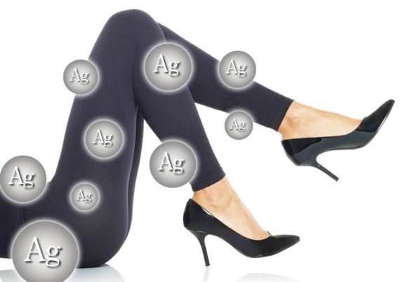 プロフェッショナルスレンダーメイクレギンスの銀による防臭加工を表した画像