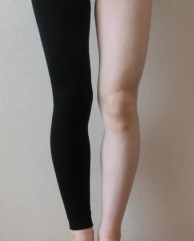 ビューティープレスを片脚だけ履いた画像